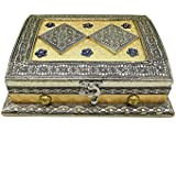 Oxidised Rajwadi Wooden Dry Fruit Box With 4 Compartment Chocolate Box Mukhvas Box (9 X 7 X 3.5 Inch) OXY_4