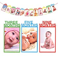 Party Propz Thickened Kraft Card Paper 1st Birthday Bunting Baby Photo Banner, Baby 1-12 Month Photo Prop