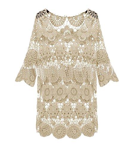 Pinkyee Damen Strick Look Beach Kleid Weiß