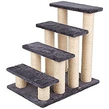 PEDY Escalera de Mascota con Pasos de Felpa Columnas de Sisal y Tablero de Partículas 4