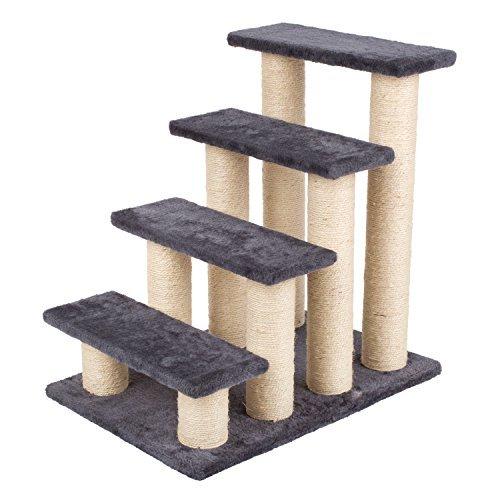 PEDY Escalera de Mascota con Pasos de Felpa Columnas de Sisal y Tablero de...