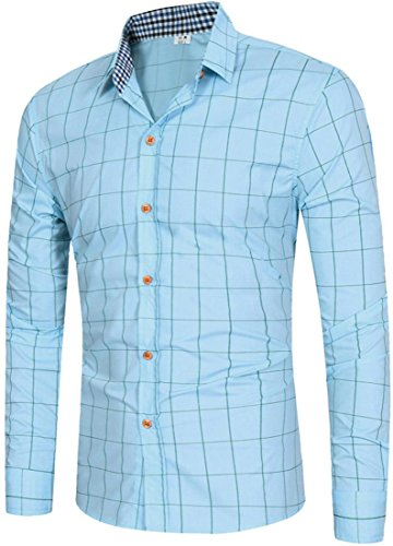 Sportides Herren Casual Long Sleeve Plaid Button Down Check Shirts Tops JZA102 JZA102_LightBlue