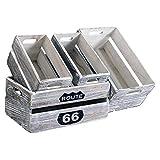 Rebecca Mobili Set 4 Cassette Frutta Vintage, scatole portaoggetti Decorate, Legno Paulownia, Bianco Shabby, per casa Giardino - Misure: 15 x 35 x 22 cm (HxLxP) - Art. RE4590