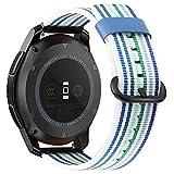Fintie Armband kompatibel für Samsung Galaxy Watch 46mm / Gear S3 Frontier/Gear S3 Classic/Huawei Watch GT - Premium Nylon UhrBand Uhrenarmband Ersatzband Replacement, Streifen blau