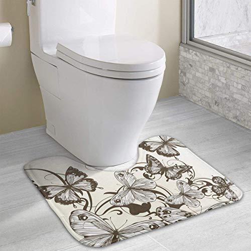 Uosliks Vintage Style Butterfly Card Contour Bath Rug, U-Shaped Polyester Toilet Floor Mat Non Slip Bathroom Shower Carpet -