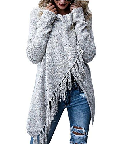 Damen Langarm Strickjacke Quasten Asymmetrisch Poncho Pullover Sweater Cardigan Mantel Outwear JOYORUN Hellgrau M