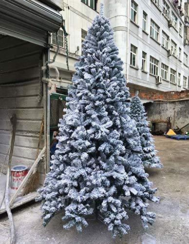 DE&HX Beflockte Weihnachtsbaum, Weiß Künstlicher Weihnachtsbaum Unbeleuchtete Mit Ständer aus Metall PVC-Material Ganz einfach aufbauen Tannenbaum Christbaum-J 2.1m/6.9 ft