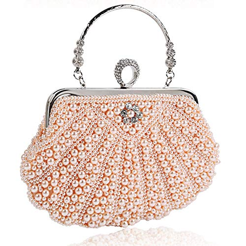 ETH Ladies Dinner/Evening Clutch Bag Pearl Dress Bag Wedding Bag Tracolla Diagonale Femminile Shell Banquet Bag Durevole (Colore : Beige)