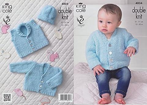 King Cole Cuddles DK Knitting Pattern Baby Cardigan, Waistcoat & Hat 4004