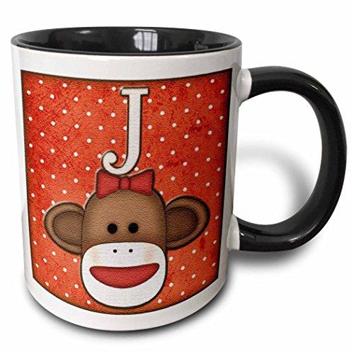 key Girl Initial Letter J - Two Tone Black Mug, 11oz (mug_102813_4), , Black/White ()