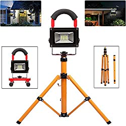 30W Red LED Work Light, 3000LM LED Spotlight Rechargeable, IP65 Waterproof Outdoor Working Lights with Tripod Stand, 6000K White Working Lamp for Workshop, Job Site, Garage [Energy Class A++]