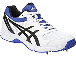 ASICS Mens Gel-100 Not Out White, Black and Blue Cricket Shoes - 11 UK/India (46.5 EU)(12 US)