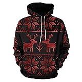 Tianwlio Damen Winter Langarmshirt Hoodie Pullover Mode Männer Männer Modus 3D Print Langarm Weihnachten Paare Hoodies Top Bluse Shirts Schwarz XL