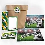 JuNa-Experten 12 Einladungskarten zum Kindergeburtstag Fußball Fussball Party / Einladungen zum Geburtstag incl. 12 Umschläge, 12 Tüten / Natur, 12 Aufkleber, 12 Lesezeichen, 12 Mini-Notizblöcke