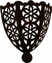 Lampara de pared marroquí de metal perforado a mano con forma de Media luna - Altura 30 Ancho 24 Diámetro 10 cm