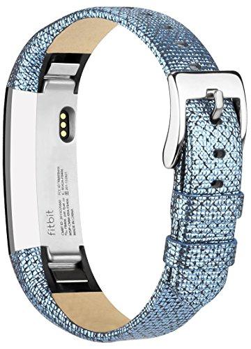 Vancle Lederarmband für Fitbit Alta, Anpassbare Bequemen Fitbit Alta Ersatzarmbänder mit Edelstahl Schnalle (Kein Tracker) (Grid Blau)