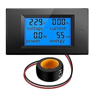 KKmoon 100A AC 80V-260V 20A/100A 4 in 1 Digital LCD Panel Digital Power Watt Monitor Current Voltmeter Ammeter Voltage KWh Multimeter Tester Meter with Current Transformer CT