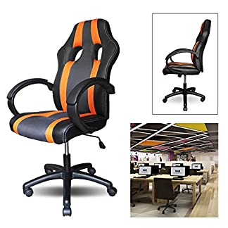 HG® PU Racing Chair Silla de oficina Comfort Executive Chair Silla giratoria naranja Altura ajustable Capacidad de carga 200 kg