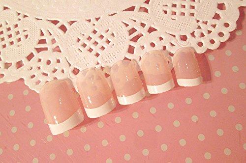 asentechuk® 24/Sheet French Style Falsche Nagel Aufkleber Kunst Tipps Nägel Dekoration Patch Maniküre Spitze Zubehör