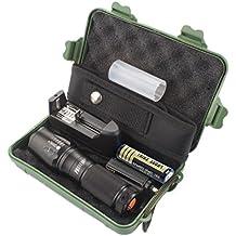 Tefamore Linterna Táctica Policía Zoomable X800 XML T6 LED + 18650 Batería + Cargador + Estuche