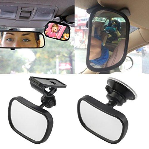Preisvergleich Produktbild Rücksitzspiegel für Babys mit Saugnäpfe&Klammer CATUO Einstellbare Baby-Spiegel Bruchsicherer Auto-Rückspiegel, Spiegel Größe: 87*56mm, Schwarz