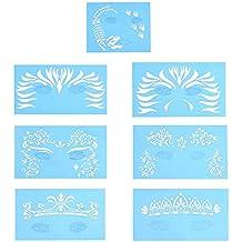 7 piezas/set reutilizable Plantillas para pintura facial,herramientas de diseño de tatuaje de