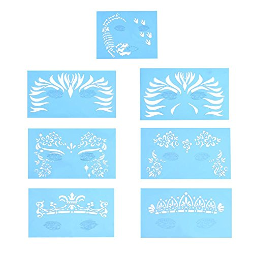 7 piezas/set reutilizable Plantillas pintura facial,herramientas
