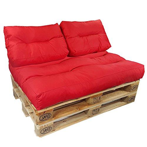 proheim Palettenkissen Lounge 3er Set - 1 Sitzpolster + 2 Rückenkissen in Rot Sitzkissen für Europaletten Paletten-Sofa