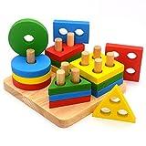 J Robin Forma geométrica Tablero Stack & Sort de Madera Color y reconocimiento Juguetes de Rompecabezas para Bebés niños pequeños