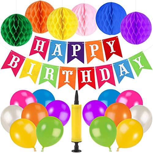 Unomor Geburtstags Dekoration mit Happy Birthday Banner, 6 wabenkugeln, 30 Luftballons, 1 Luftballon pumpe für Geburtstags Party liefert