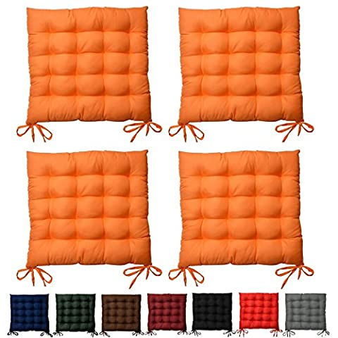 4 Set Beautissu Seat Cushion Lea - Garden Chair Pad 37 x 37 x 5 cm 15-Point-Stiched Dining Chair Cushion Orange