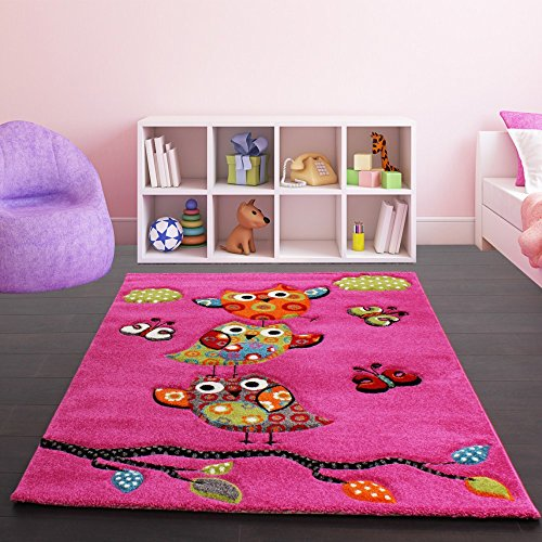 Kids Carpet Cute Owls Modern Children Rug in Pink Fuchsia Green Blue, Size:200x290 cm