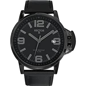 Hector H - 665383 - Montre Homme - Quartz Analogique - Cadran Noir - Bracelet Cuir Noir