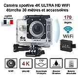 Mini caméra sport action / caméra embarquée blanche 4K Ultra HD wifi avec caisson étanche 30 mètres