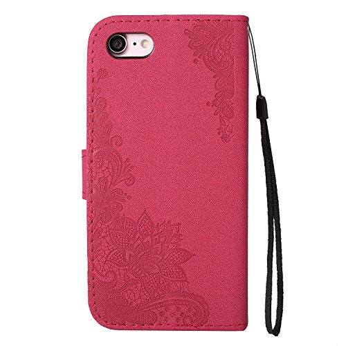 Glitter Sparkles Flower Embossing Style Housse en cuir PU Case à bagages avec doux TPU Back Cover & Lanyard & Kickstand pour iPhone 7 ( Color : Red ) Red