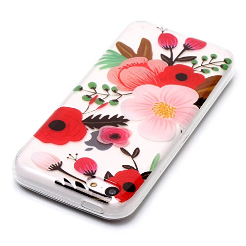 Cover iPhone 5/5S/SE, GrandEver Morbida Trasparente Ultra Slim Gel Silicone TPU Custodia Protettiva Back Shell Case per iPhone 5/5S/SE - Donuts Fiore 2