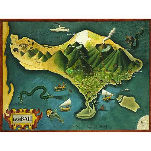 Wee Blue Coo LTD Paintings Map Bali Indonesia Volcano Animal Art Print Poster Wall Decor Kunstdruck Poster Wand-Dekor-12X16 Zoll (Bali Dekor)