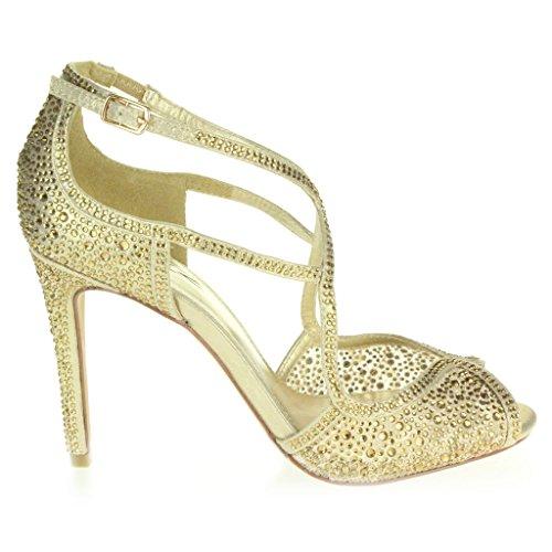 Frau Damen Diamante Hohe Absatz Peep Toe Querriemen Braut Abend Hochzeit Party Prom Sandale Schuhe Größe Gold