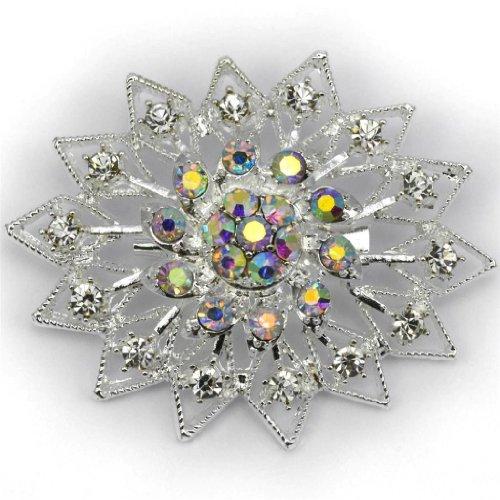 Elixir77UK color de plata de la flor de la boda fiesta nupcial broche con lisos y brillantes cristales de AB