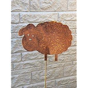 Gartenstecker Schaf aus Metall/Rost am Stab, ca. 115cm hoch, NEU