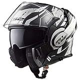LS2 FF399 Vaillant Convertir Casques Modulables Casque de Moto Noir / Blanc / Chrome L(59-60cm)