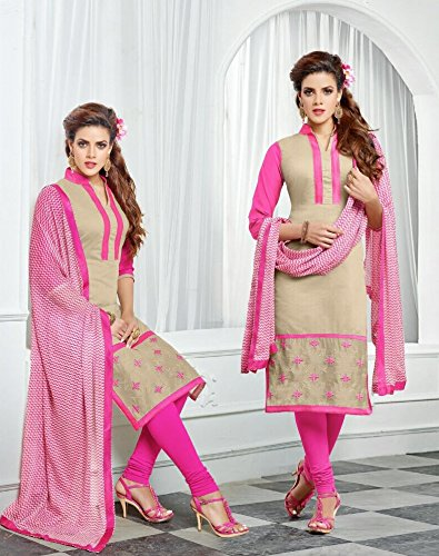 Saheli Fabric Women's Chanderi Cotton Unstitched Dress Material(Pink)
