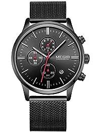 Moda Hombre Deluxe Cronógrafo Luminoso Negro Cuarzo Relojes Analógico Acero Inoxidable Malla Banda Reloj de pulsera
