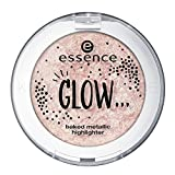 Essence GLOW ... baked metallic highlighter Nr. 03 like glitter is raining down on you Inhalt: 5g Gebackener metallisches highlighter Puder.