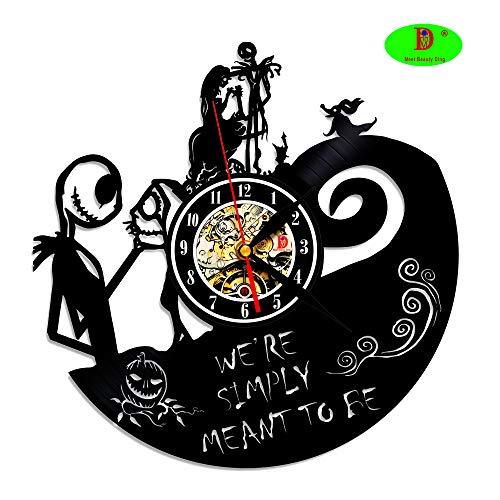 Nightmare Before Christmas Vinyl Record Wall Clock - Dekorieren Ihr Haus mit der modernen Kunst - Geschenk für Kinder Mädchen und Jungen - (Christmas Before Nightmare Mädchen)