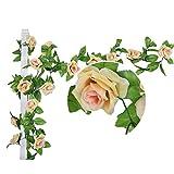 Natural Home Künstlich Rose Blatt Efeu Girlande Blumen Dekoration (Champagner)