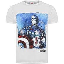 Producto oficial de Los Vengadores de Marvel Ultron 2 Age Of 'de Capitán América' T-de manga corta de mujer - De color blanco