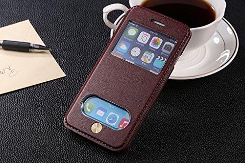 iPhone 6 / iPhone 6S 4.7 inch Handycover, TOTOOSE für iPhone 6 / iPhone 6S 4.7 inch Ultra dünn PU Leder Hülle mit View Windows Flip Stand Funktion Weiches TPU Silikon Abdeckung Schützend Schale Dunkel Braun