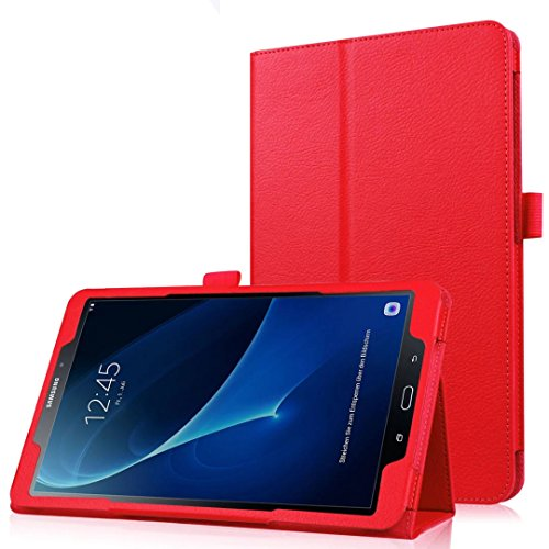 (Sotefe® Etui Samsung Galaxy Tab A6 10.1'' Hülle - Flip Cover Case Schutzhülle Tasche Hülle für Samsung Galaxy Tab A 10.1 2016 SM-T580/T585 + Displayschutz + Bieröffner Flaschenöffner - Rot)