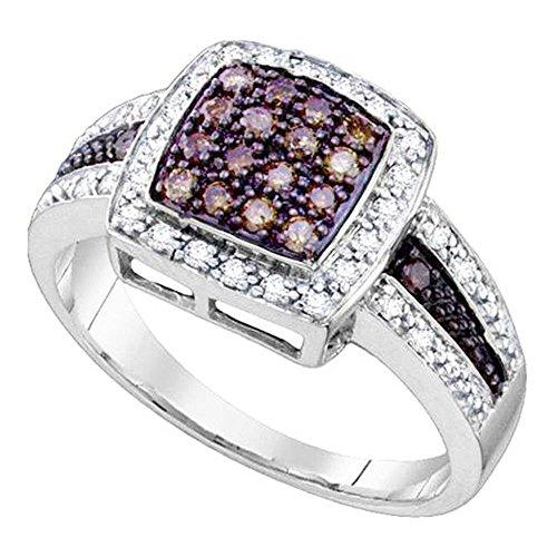 rings-midwestjewellery. COM Damen cognac Diamant Cocktail Ring 0.49Karat Weiß Gold 11mm breit Rechte Hand Jahrestag